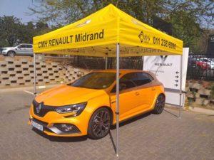 Renault Megane RS under a tent